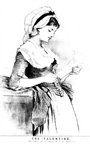 Illustration from an old newspaper of a young lady reading a Valentine Card
