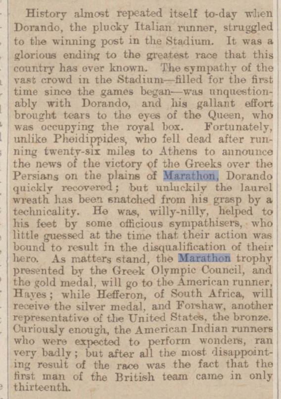 old newspaper report on the marathon in the 1908 olympic games and dorano pietri