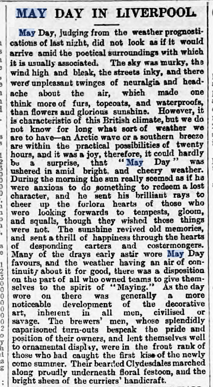 newspaper story for may day in liverpool in 1889