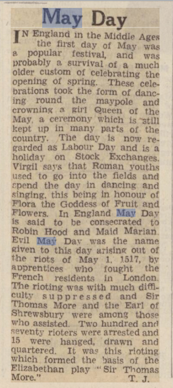 old newspaper story for may day traditions