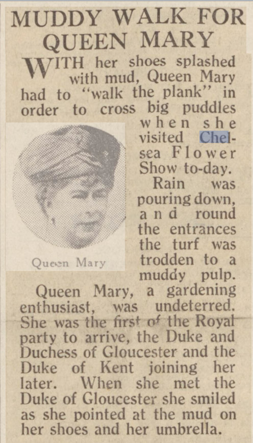 'Muddy Walk for Queen Mary' at the Chelsea Flower Show in 1939