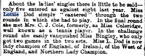 Lottie, champion of Wimbledon in 1887