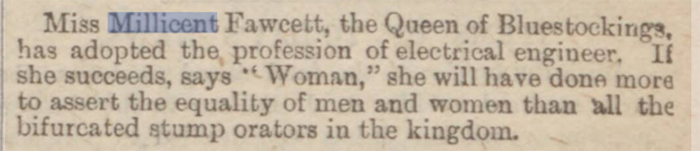 newspaper story about millicent fawcett