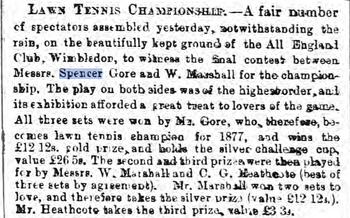 Spencer Gore, champion of Wimbledon in 1877