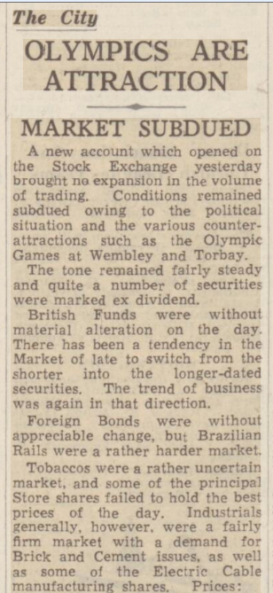 newspaper story about the effects of the 1948 Olympics on the London Stock Exchange