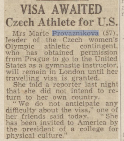 newspaper story for The First Political Defection at an Olympic Games: Marie Provaznikova