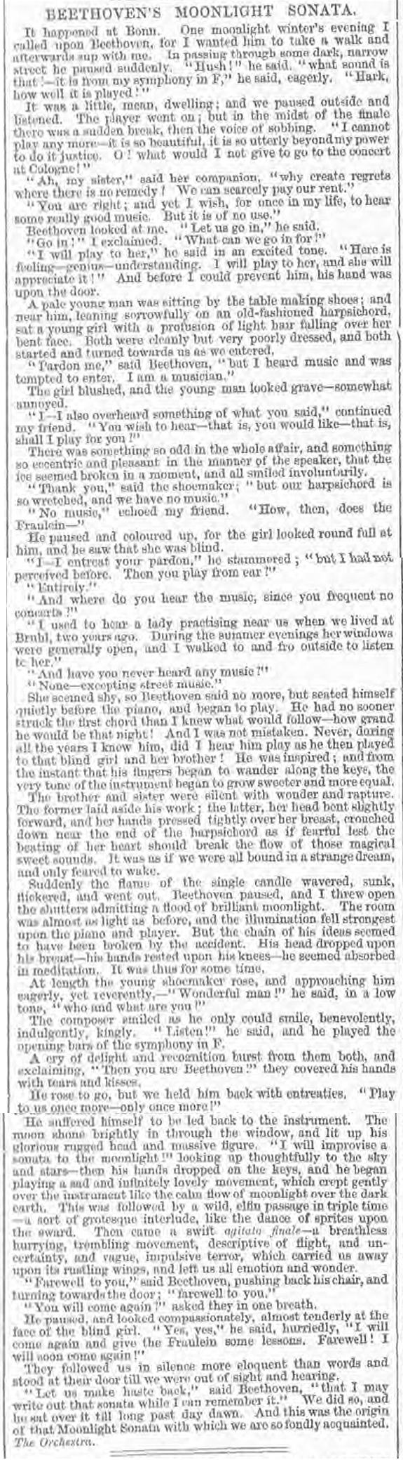 newspaper story about how Beethoven wrote the Moonlight Sonata