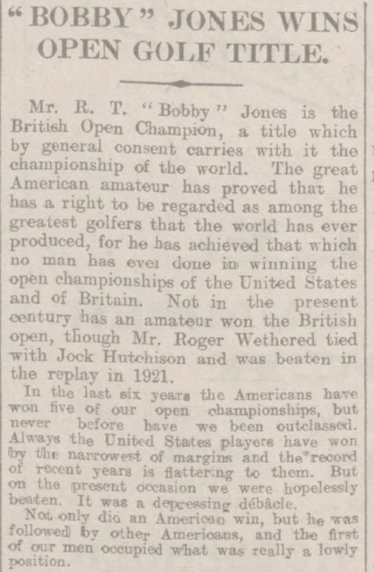 newspaper report of Bobby Jones the 1926 Open