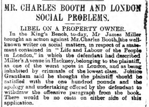 newspaper report on the work of Charles Booth in London