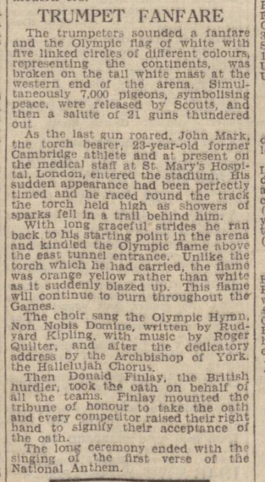 newspaper story about the opening of the 1948 Olympics