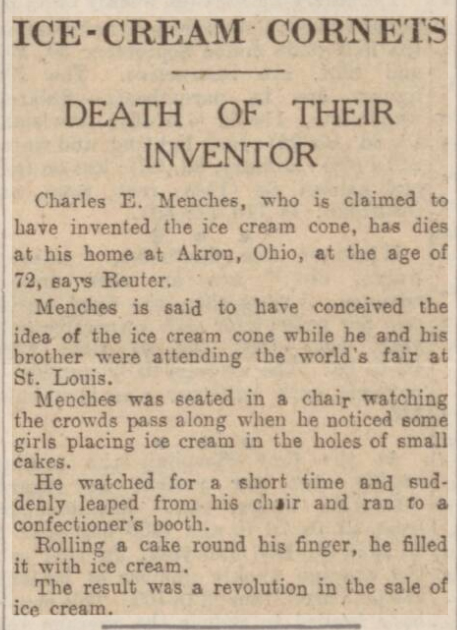 newspaper story about how the ice cream cone was invented