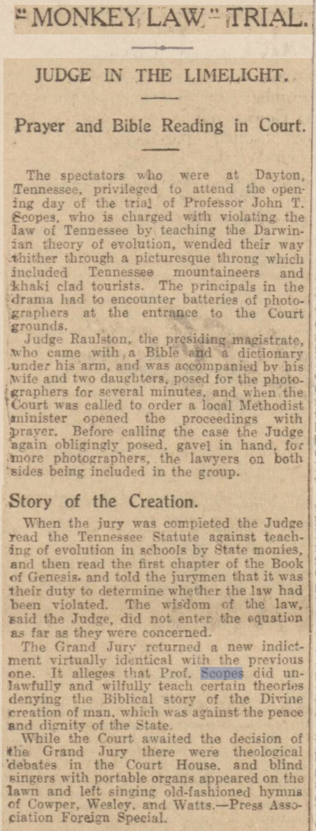 newspaper report on the Scopes Monkey Trial