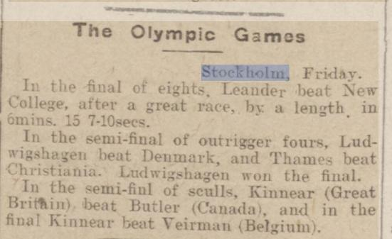 newspaper story about the gold medal won by Philip Fleming, uncle of Ian Fleming