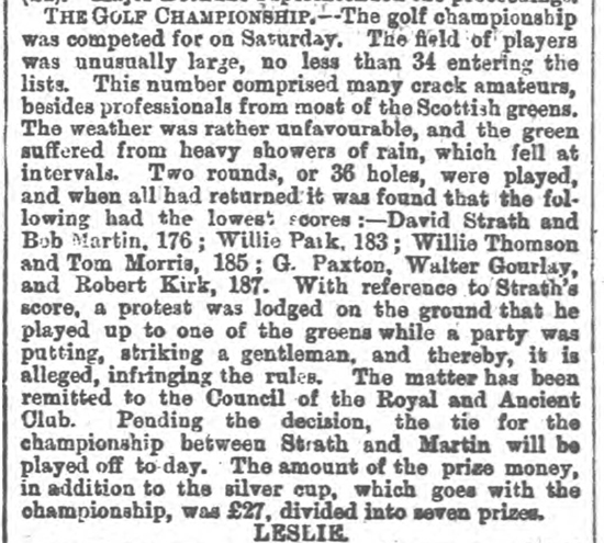 newspaper report of the 1876 Open
