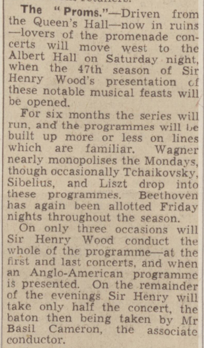 newspaper report of the 1941 prom concerts