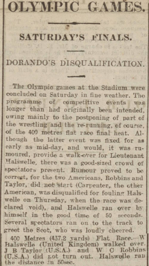 newspaper story about the gold medal won by Wyndham Halswelle at the 1908 Olympics in London