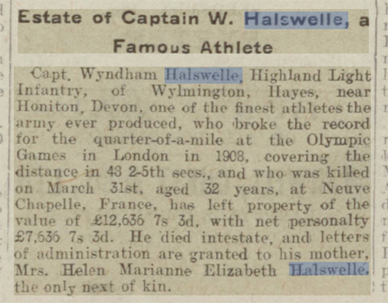 newspaper story about the death of Olympic champion, Wyndham Halswelle