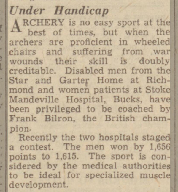 newspaper report on stoke mandeville hospital