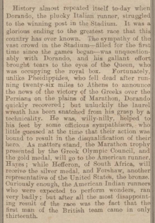 newspaper story about Dornado Pietri in the marathon at the 1908 Olympics