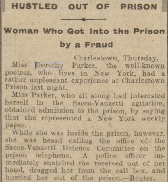 newspaper report report about Dorothy Parker being thrown out of prison