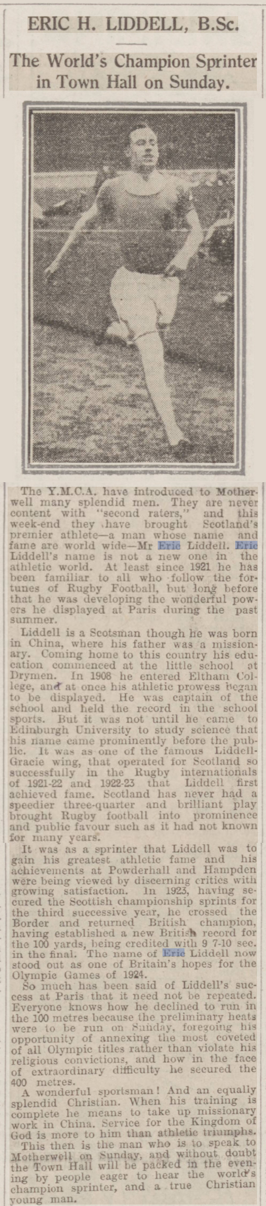newspaper story about the triumph of Olympic champion, Eric Liddell