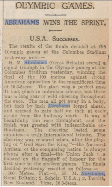 newspaper story about Harold Abrahams winning the 100 metres at the 1924 Olympics