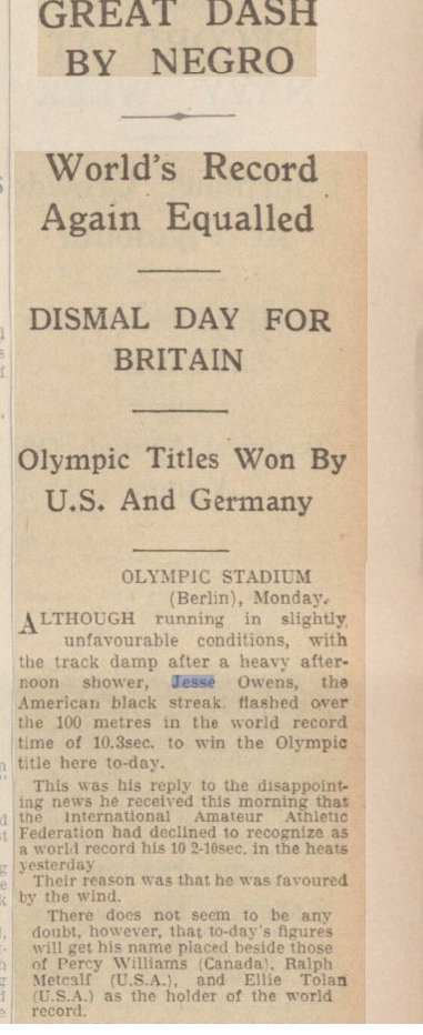 newspaper story about Jesse Owens winning the 100 metres at the 1936 Olympics