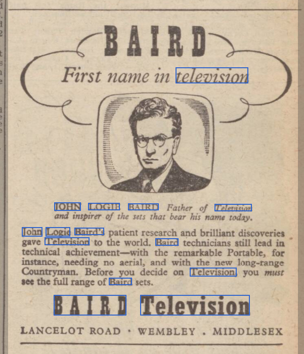 newspaper advert for john logie baird television
