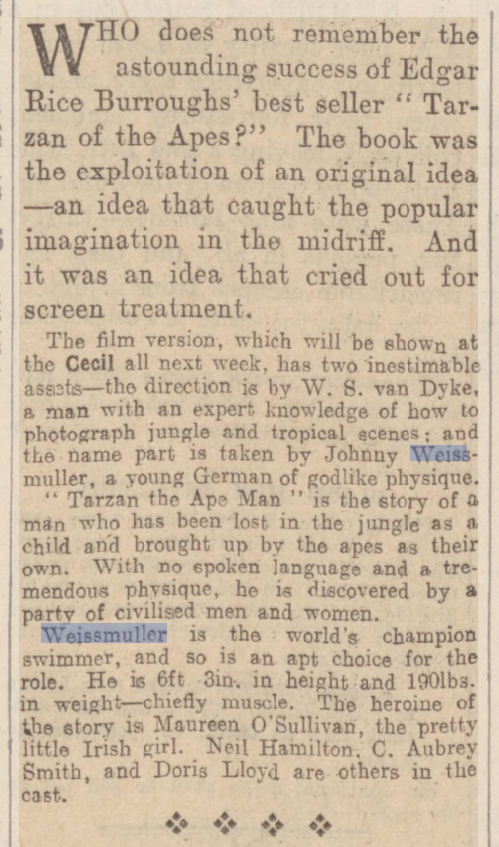 old newspaper story about Johnny Weismuller