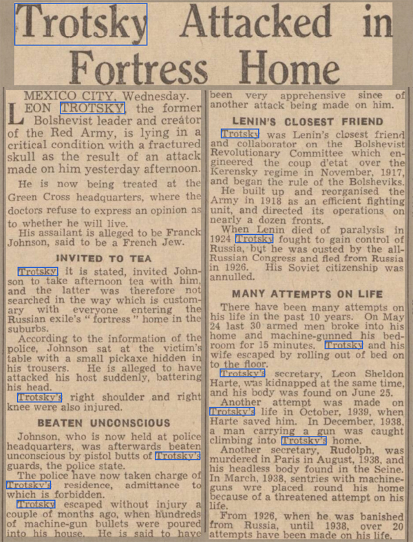 old newspaper report on the attack on Leon Trotsky