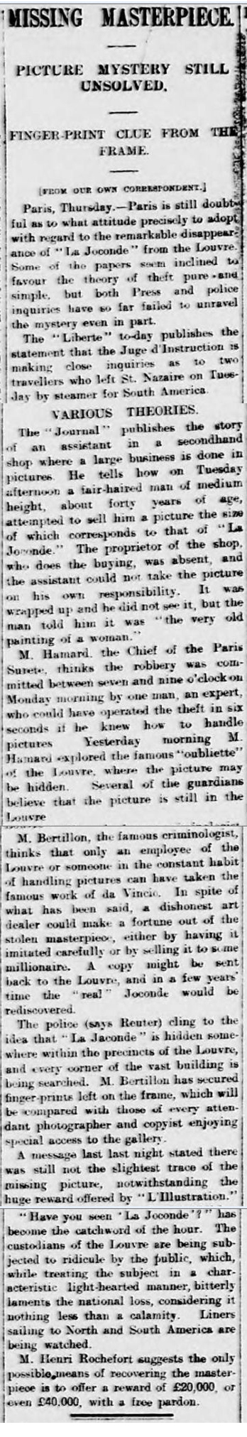 old newspaper report on the on the theft of the Mona Lisa from the Louvre in 1911