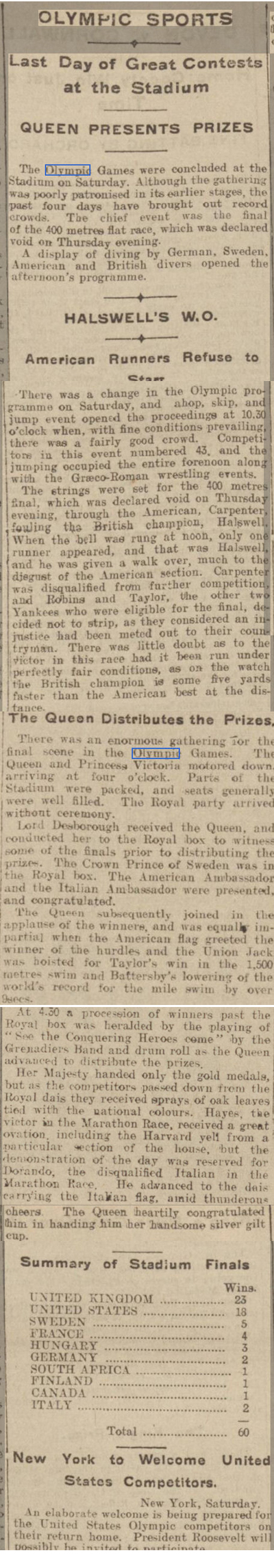newspaper story about the closing ceremony of  the 1908 Olympics