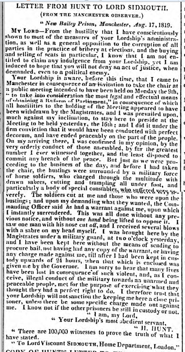 letters written to newspapers written by Henry Hunt after the Peterloo Massacre