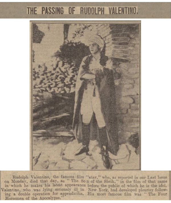 newspaper report report about the death of Rudolph Valentino