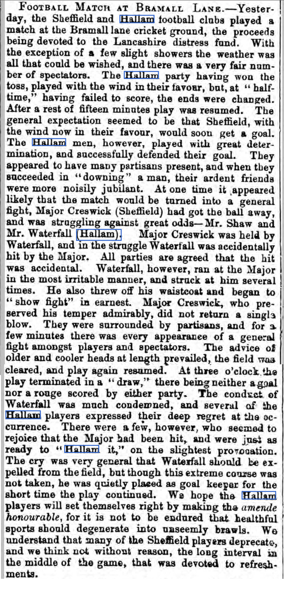 report on the first football match reported in a newspaper – Sheffield v Hallam