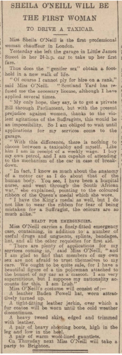 newspaper report on the first woman taxicab driver in London