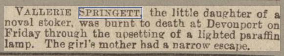 newspaper report report about the death if a child due a paraffin lamp being knocked over