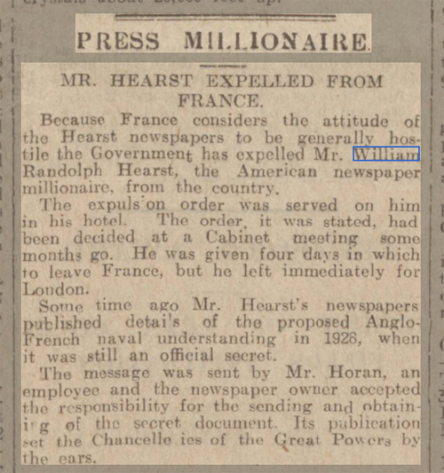 newspaper report on william randolph hearst
