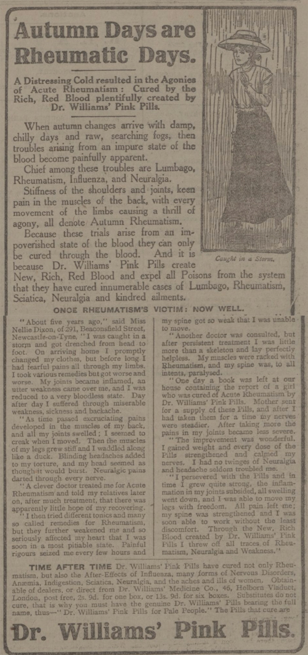 newspaper advert for Dr Williams' Pink Pills for Pale People