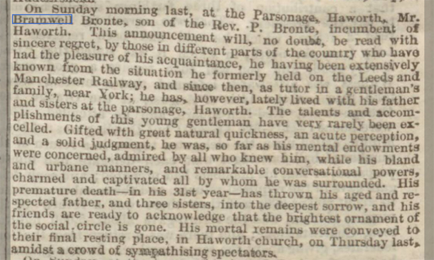 newspaper report on the death of branwell bronte