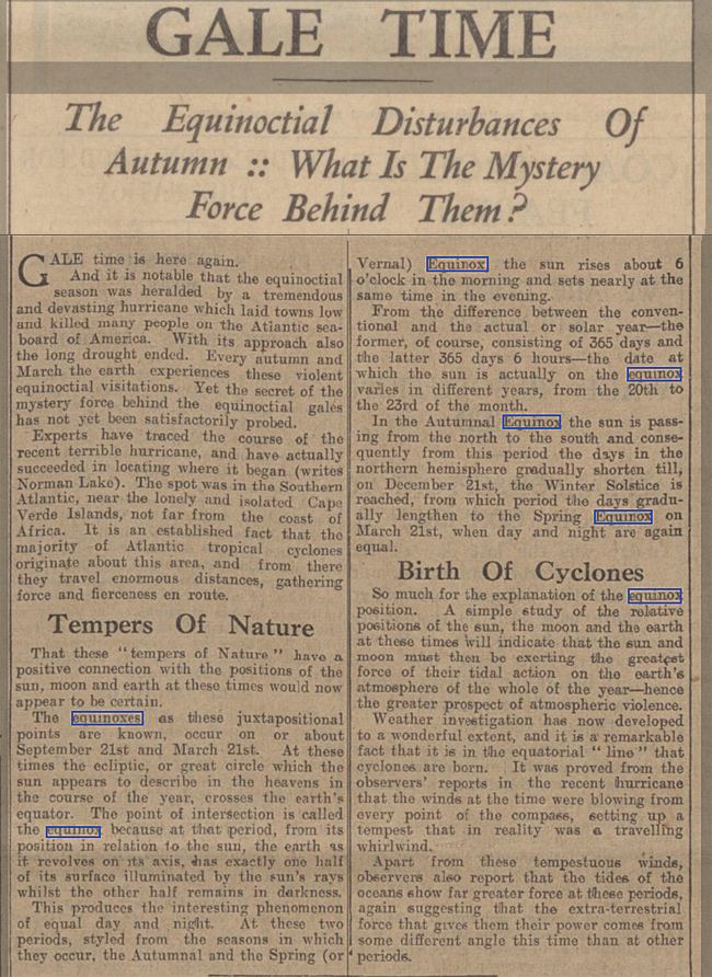 newspaper report on the autumn equinox People