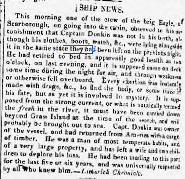 newspaper report on missing sea captain