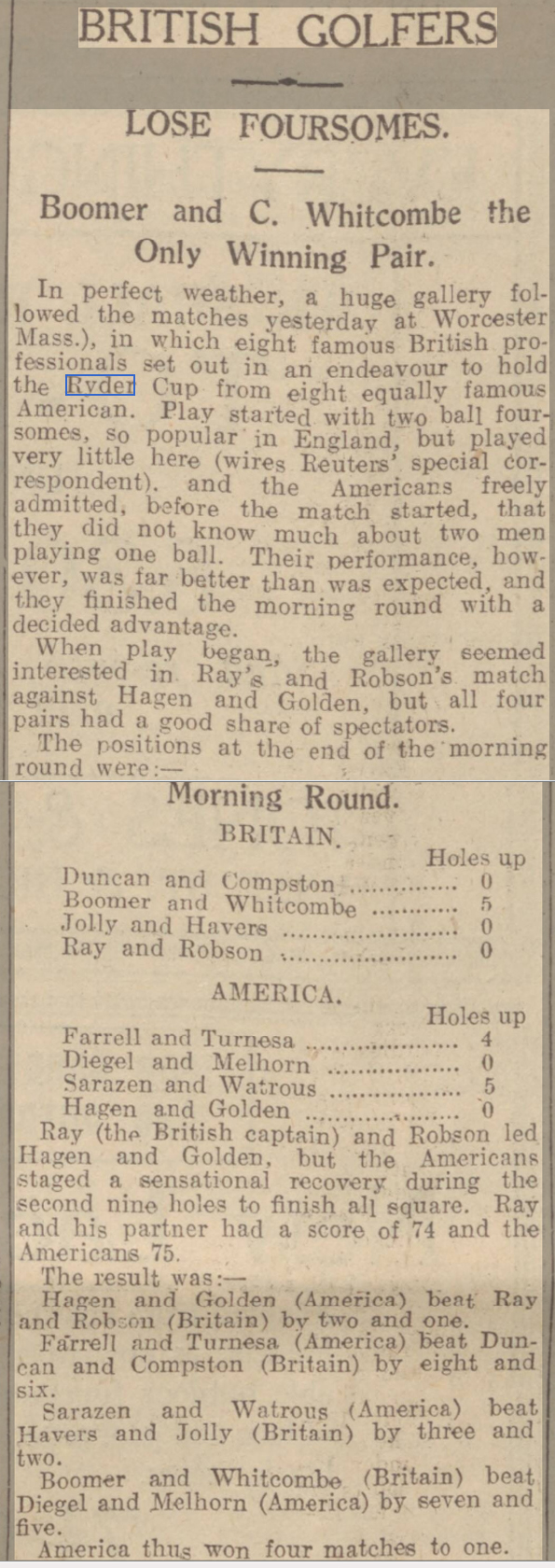 newspaper report on the ryder cup in 1927