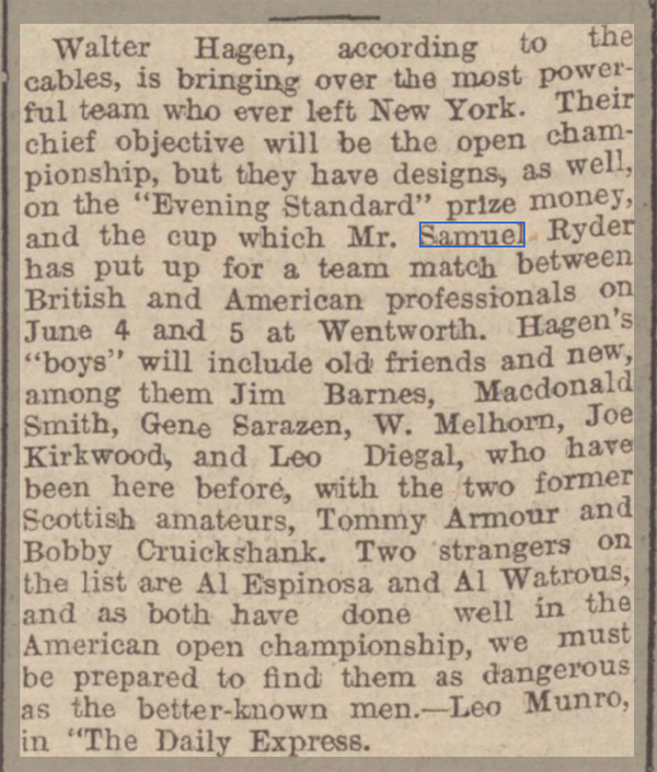 newspaper report on the ryder cup in 1926