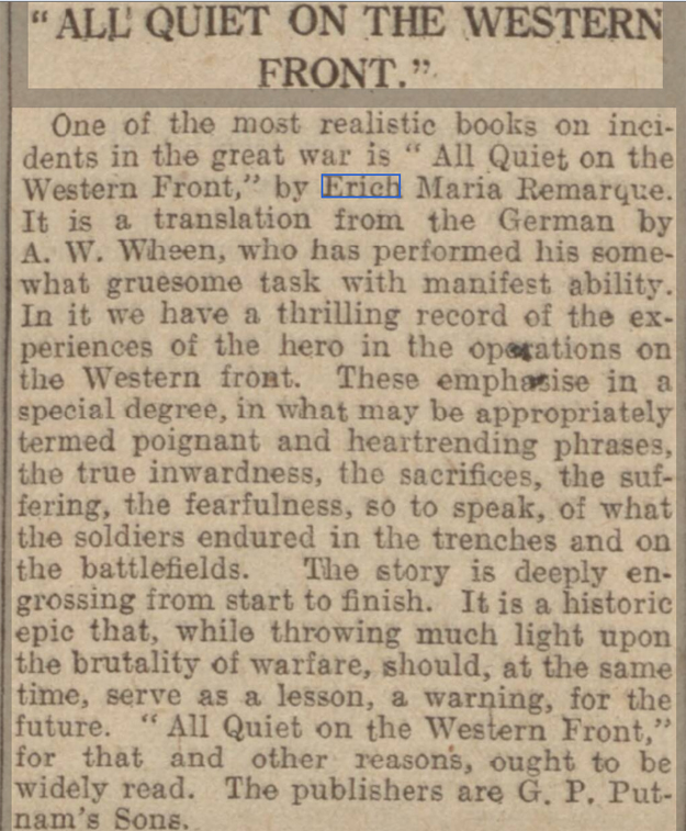newspaper report on all quiet on the western front