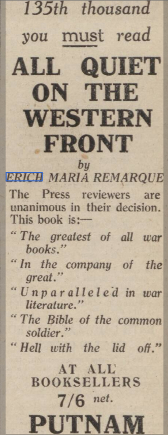 newspaper advert for on all quiet on the western front