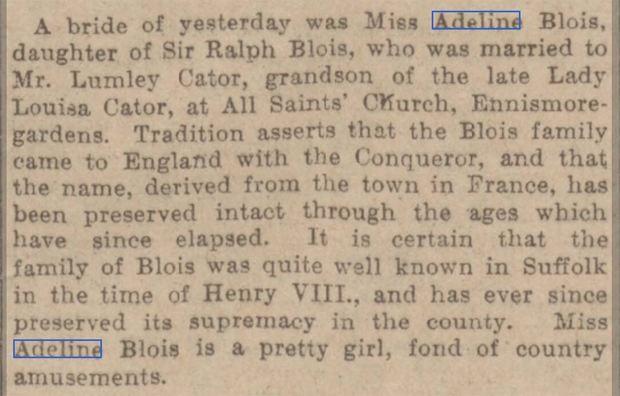 newspaper report on the the wedding of the grandmother of celia imrie