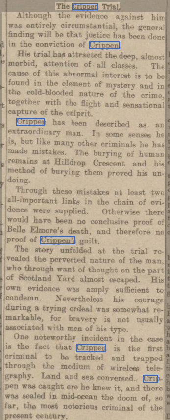 newspaper report on the trial of dr crippen