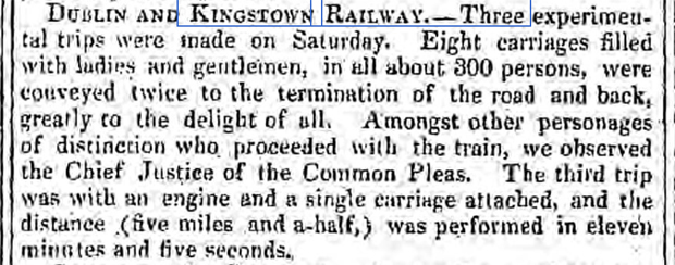 newspaper report on the opening of the Dublin to kingstown railway