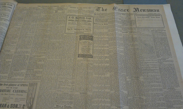 The Essex Newsman displaying uneven numbers of columns on each page
